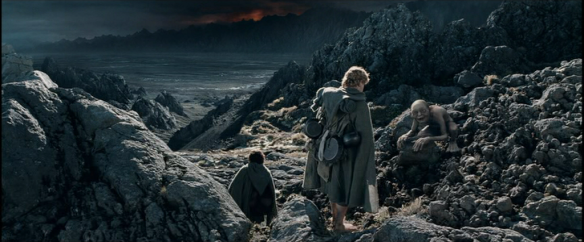 The Lord of the Rings: The Two Towers (Peter Jackson, 2002): 41st minute, Elijah Wood as Frodo, Andy Serkis as Gollum, Sean Astin as Sam