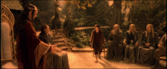 The Lord of the Rings: The Fellowship of the Ring (Peter Jackson, 2001): Hugo Weaving as Elrond, Elijah Wood as Frodo Baggins, Ian McKellen as Gandalf
