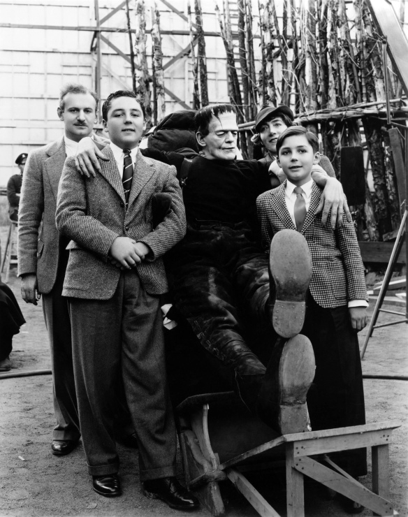 Boris Karloff on the set of Son of Frankenstein