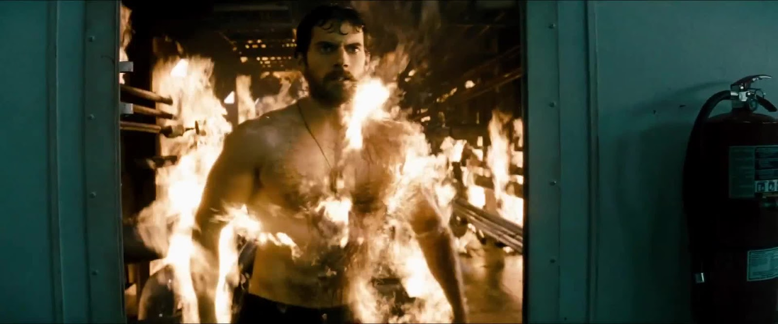 Shirtless Henry Cavill fire scene Man of Steel sexy