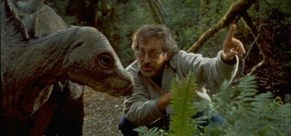 Spielberg directing a dinosaur on the set of Jurassic Park: The Lost World