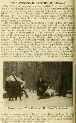Review of Edison's 1912 Corsican Brothers from Moving Picture World, March 1912
