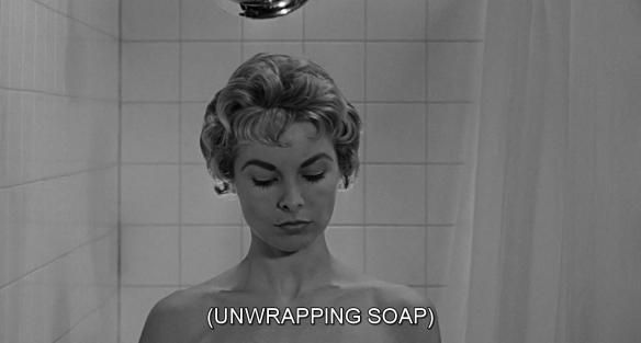 Marion Crane (Janet Leigh) takes a shower in Alfred Hitchcock's Psycho